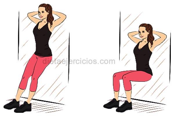Entrenamientos para tonificar abdominales contra la pared